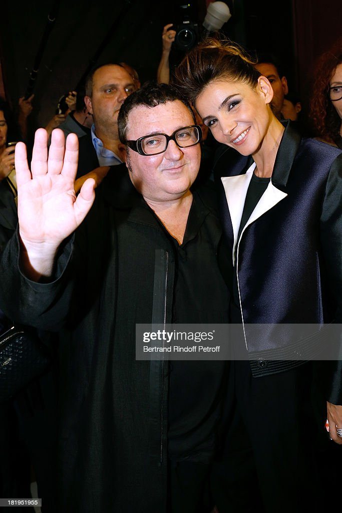 Fashion Designer <a gi-track='captionPersonalityLinkClicked' href=/galleries/search?phrase=Alber+Elbaz&family=editorial&specificpeople=783481 ng-click='$event.stopPropagation()'>Alber Elbaz</a> and Princess of Savoy, <a gi-track='captionPersonalityLinkClicked' href=/galleries/search?phrase=Clotilde+Courau&family=editorial&specificpeople=171279 ng-click='$event.stopPropagation()'>Clotilde Courau</a> after Lanvin show as part of the Paris Fashion Week Womenswear Spring/Summer 2014, held at 'Ecole des beaux Arts on September 26, 2013 in Paris, France.