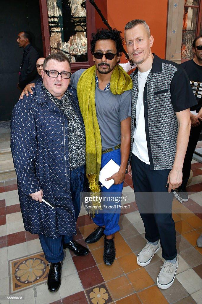 Fashion Designer Alber Elbaz Fashion Designer Haider Ackermann and Lanvin men fashion designer Lucas Ossendrijver pose after the Lanvin Menswear...