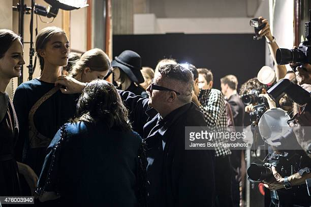 Fashion designer Alber Elbaz is photographed for Madame Figaro backstage at Lanvin's Autumn/Winter 2015 2016 prêtàporter show on March 5 2015 in...