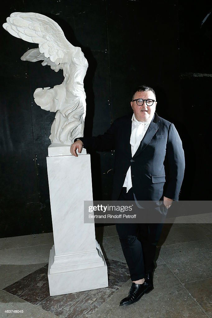 Fashion Designer Alber Elbaz poses after the Lanvin Menswear Fall/Winter 20142015 Show as part of Paris Fashion Week Held at 'Ecole Des Beaux Arts'...