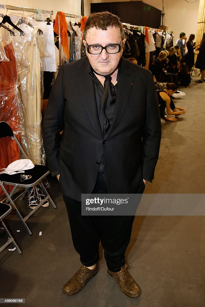 Fashion designer Alber Elbaz poses backstage before the Lanvin show as part of the Paris Fashion Week Womenswear Spring/Summer 2015 on September 25...