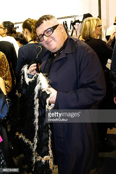 Fashion Designer Alber Elbaz poses backstage prior the Lanvin show as part of the Paris Fashion Week Womenswear Fall/Winter 2015/2016 Held at Ecole...