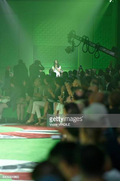 Fashion designer Alessandro Michele walks the runway at the Gucci show during Milan Men's Fashion Week Spring/Summer 2017 on June 20 2016 in Milan...