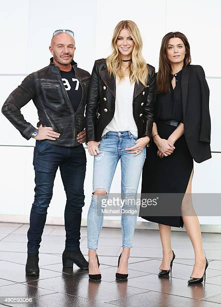 Fashion designer Alex Perry Jennifer Hawkins and Cheyenne Tozzi pose at Australia's Next Top Model Season 10 auditions at The Deakin Edge on...