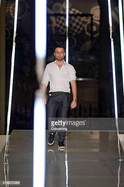 Fashion designer Alexander Vauthier walks the runway at the Alexander Vaulthier Autumn Winter 2015 fashion show during Paris Haute Couture Fashion...