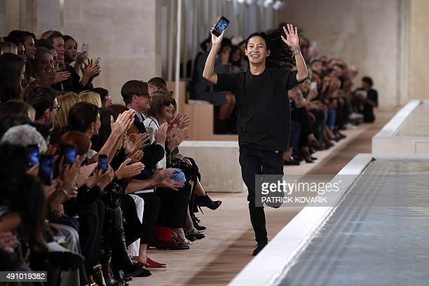 US fashion designer Alexander Wang for Balenciaga acknowledges the audience at the end of the 2016 Spring/Summer readytowear collection fashion show...