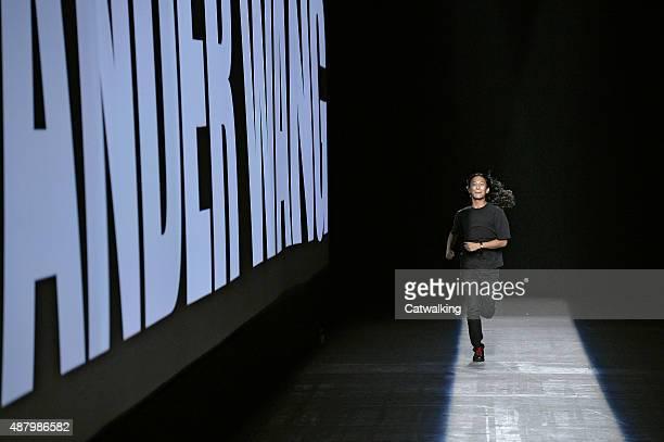 Fashion designer Alexander Wang walks the runway at the Alexander Wang Spring Summer 2016 fashion show during New York Fashion Week on September 12...