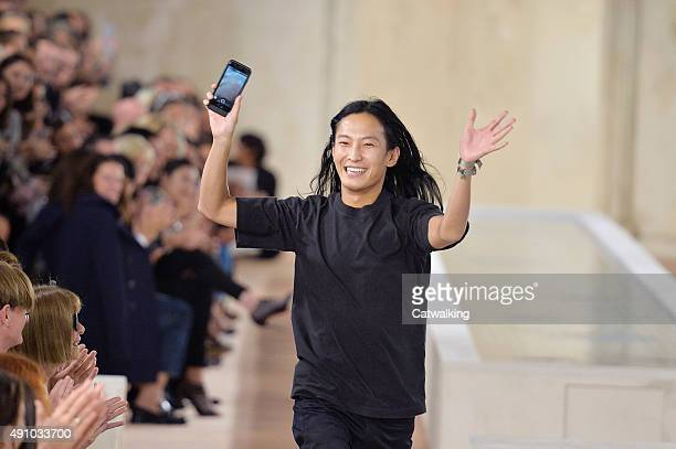 Fashion designer Alexander Wang walks the runway at the Balenciaga Spring Summer 2016 fashion show during Paris Fashion Week on October 2 2015 in...