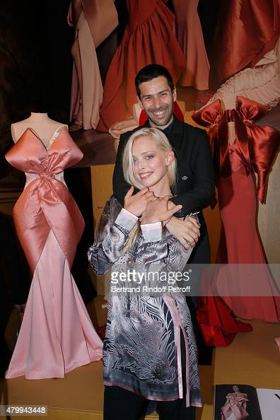Fashion Designer Alexis Mabille and Model Tanya Dziahileva attend the Presentation of the Alexis Mabille Haute Couture Fall/Winter 2015/2016...