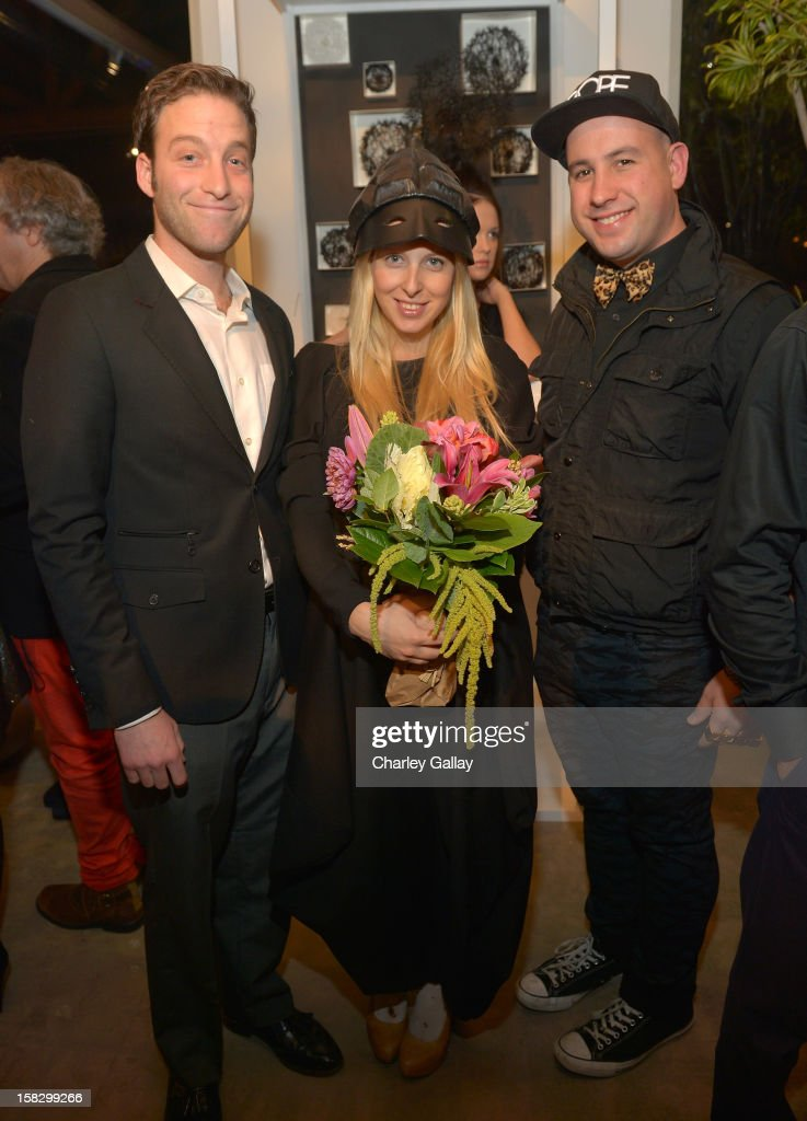 Fashion designer Aliona Kononova (C), Michael Silverstein (L) and Eric Malo attend High Fashion/2013 MOE Aliona Kononova Collection, brought to you by the all-new Lincoln MKZ, hosted by Joel Chen and Lyn Winter at C Project on December 12, 2012 in Los Angeles, California.