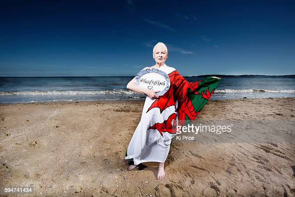 Fashion designer and campaigner Vivienne Westwood on Swansea beach with the Gower Peninsula behind an area of outstanding natural beauty under threat...