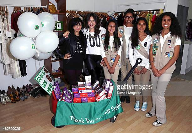 Fashion designer and celebrity stylist Jazmin Whitley actress Erin Sanders and members of Girl Scout Cadette Troop 12581 attend the Girl Scouts of...