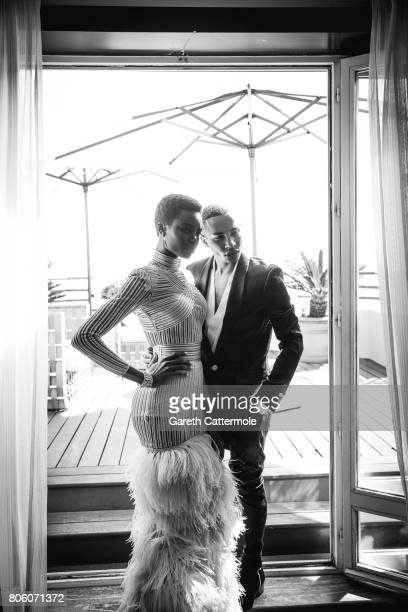 Fashion designer and creative director of Balmain Olivier Rousteing with model Maria Borges are photographed in Cannes France on May 24 2017