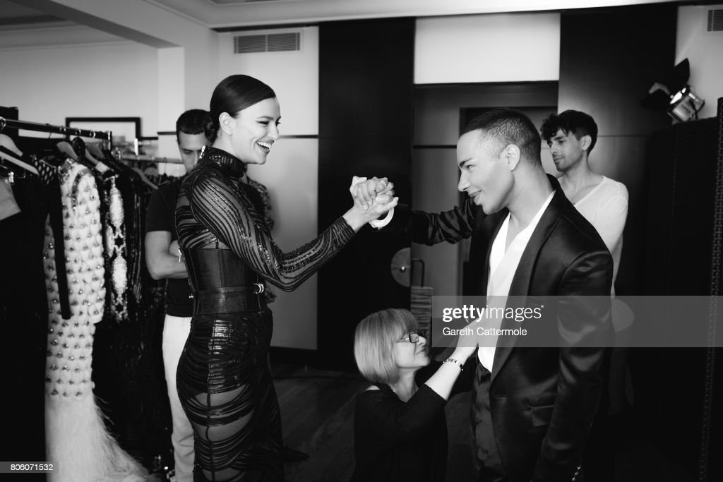 Fashion designer and creative director of Balmain, Olivier Rousteing with model Neelam Gill are photographed in Cannes France, on May 24, 2017.