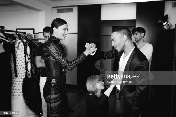 Fashion designer and creative director of Balmain Olivier Rousteing with model Neelam Gill are photographed in Cannes France on May 24 2017