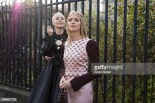 Fashion designer and fashion blogger Ulyana Sergeenko wears all Dior With Alexander Lebedevâs wife and model Elena Perminova who wears all Dior on...