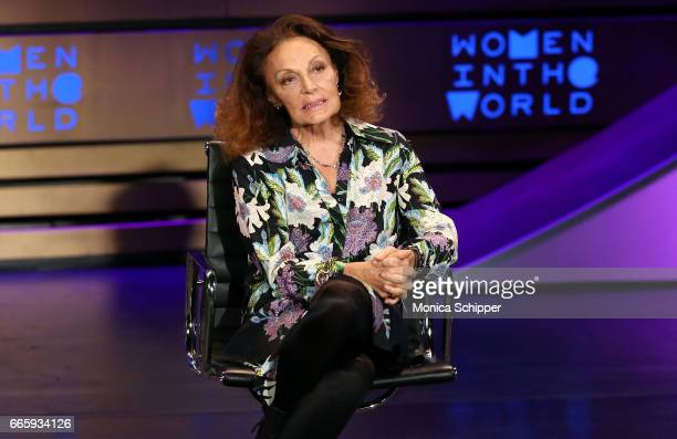 Fashion designer and founder and cochairman at DVF Studio Diane von Furstenberg speaks on stage at the 8th Annual Women In The World Summit at...