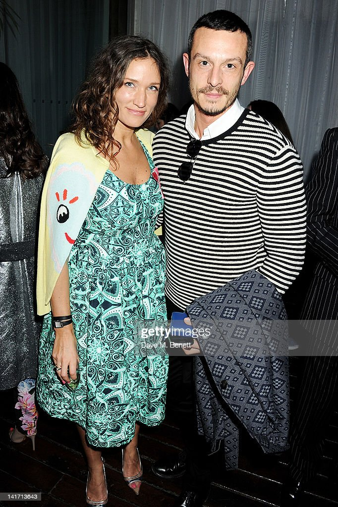 Fashion designer and founder of the Fashion East Initiative Lulu Kennedy and designer Jonathan Saunders attend a tea party in celebration of Lulu's...