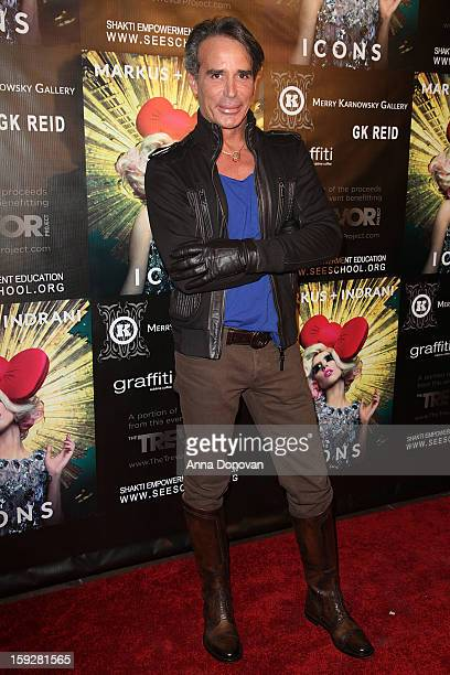 Fashion designer and producer Lloyd Klein arrives at the Markus Indrani Icon book launch at Merry Karnowsky Gallery Graffiti on January 10 2013 in...