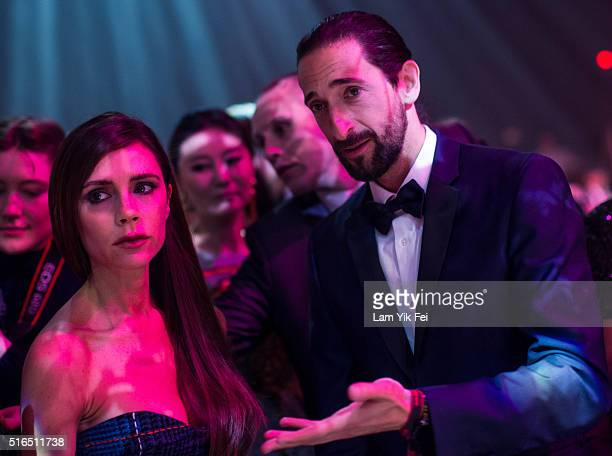 Fashion designer and Singer Victoria Beckham and actor Adrien Brody attend the Gala Dinner as part of the amfAR Hong Kong Gala 2016 at Shaw Studios...