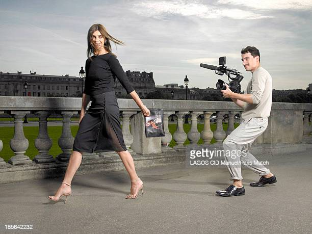 Fashion designer and stylist Carine Roitfeld is photographed for Paris Match on September 25 2013 in Paris France
