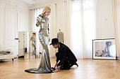 Fashion designer and the creative director of Balmain Olivier Rousteing in his atelier working on a dress for Kylie Jenner to be worn at the...