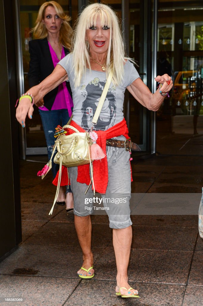 Fashion designer and tv personality <a gi-track='captionPersonalityLinkClicked' href=/galleries/search?phrase=Betsey+Johnson+-+Estilista&family=editorial&specificpeople=4205426 ng-click='$event.stopPropagation()'>Betsey Johnson</a> leaves the Sirius XM studios on May 8, 2013 in New York City.