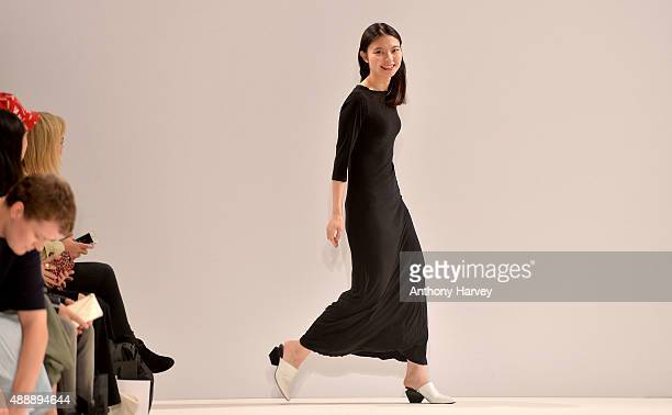 Fashion designer Angel Chen on the runway after her show at Fashion Scout during London Fashion Week Spring/Summer 2016/17 on September 18 2015 in...