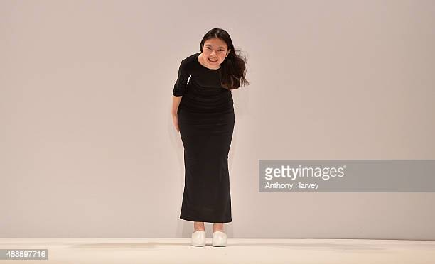 Fashion Designer Angel Chen walks the runway at the Angel Chen show at Fashion Scout during London Fashion Week Spring/Summer 2016 on September 18...