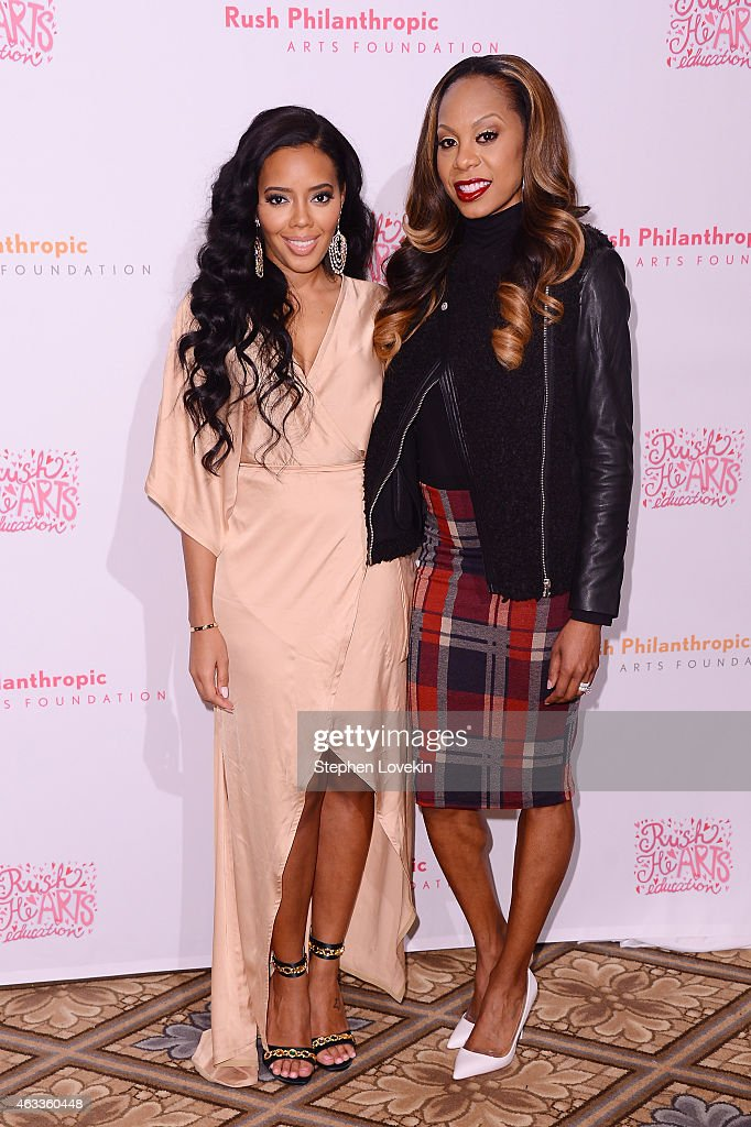 Fashion designer Angela Simmons (L) and Olympic Track and Field athlete Sanya Richards Ross attend Russell Simmons' Rush Philanthropic Arts Foundation's annual Rush HeARTS Education Valentine's Luncheon at The Plaza Hotel on February 13, 2015 in New York City.