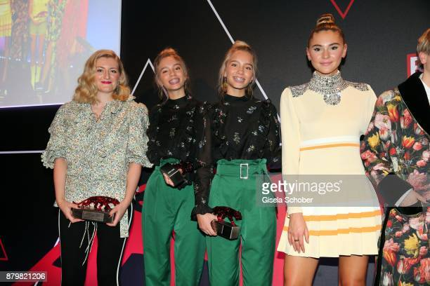 Fashion designer Anna Heinrichs of Horror Vacui Lisa and Lena Influencer of the year Stefanie Giesinger during the New Faces Award Style 2017 at 'The...