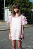 Fashion designer Anna K wears own label Anna K on day 5 of Paris Fashion Week Menswear Spring/Summer 2016 on June 28 2015 in Paris France