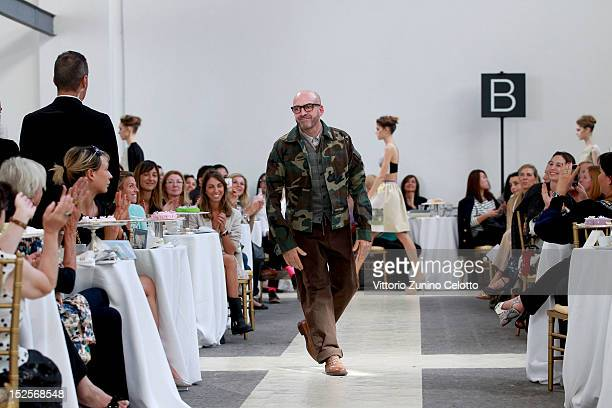 Fashion designer Antonio Marras on the runway after his Spring/Summer 2013 fashion show as part of Milan Womenswear Fashion Week on September 22 2012...