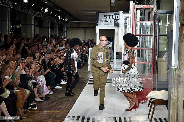 Fashion designer Antonio Marras walks the runway at the Antonio Marras Ready to Wear show during Milan Fashion Week Spring/Summer 2017 on September...