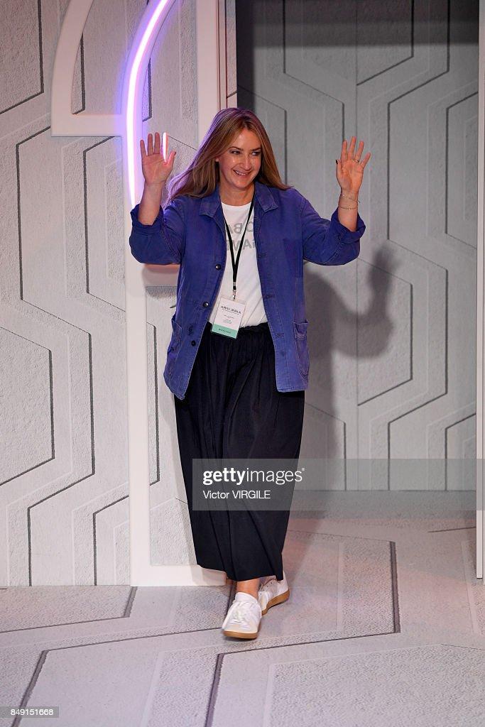 fashion designer anya hindmarch walks the runway at the anya hindmarch ready to wear spring