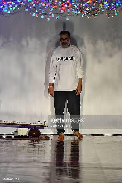 Fashion designer Ashish Gupta walks the runway at the Ashish show during London Fashion Week Spring/Summer collections 2016/2017 on September 19 2016...