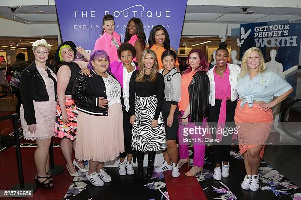 Fashion designer Ashley Nell Tipton Nina Garcia and models pose for photographs during the launch of Ms Tipton's Boutique clothing line at JCPenney...