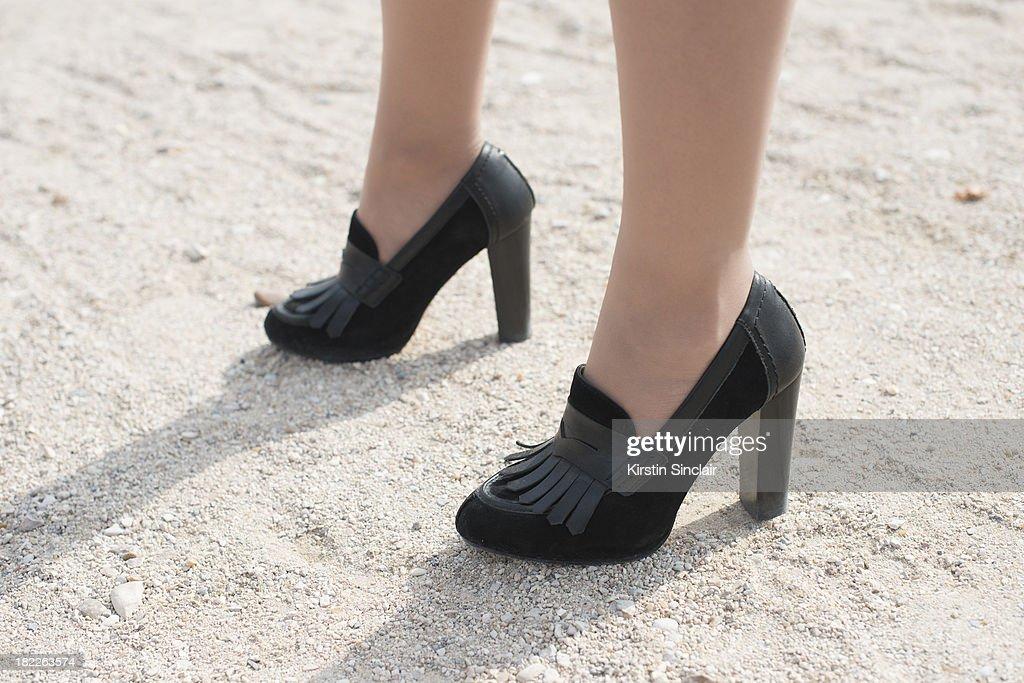 Fashion Designer at The Kooples Anne- Catherine Frey wears Zara shoes on day 5 of Paris Fashion Week Spring/Summer 2014, Paris September 28, 2013 in Paris, France.