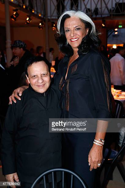 Fashion Designer Azzedine Alaia and Betty Lagardere attend the 'Alaia' Azzedine Alaia Perfum Launch Party on May 21 2015 in Paris France