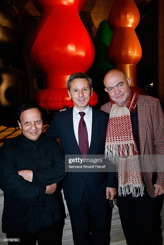 Fashion designer Azzedine Alaia, President of Monnaie de Paris, Christophe Beaux and Fashion designer Christian Lacroix attend the Monnaie De Paris : Reopening Party with Opening of the McCarthy Exhibition, on October 23, 2014 in Paris, France.