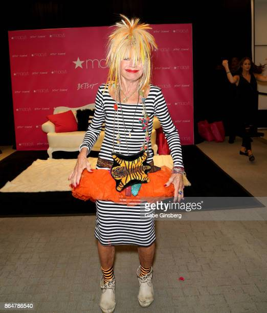 Fashion designer Betsey Johnson arrives at Macy's at the Fashion Show mall on October 21 2017 in Las Vegas Nevada