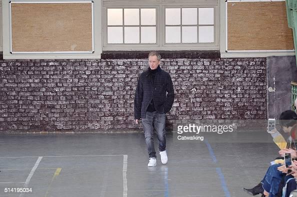 Fashion designer Bill Gaytten walks the runway at the John Galliano Autumn Winter 2016 fashion show during Paris Fashion Week on March 6 2016 in...