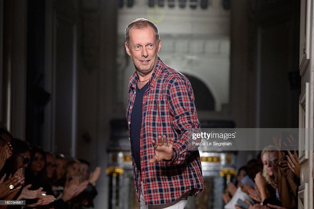 Fashion designer Bill Gaytten walks the runway during John Galliano show as part of the Paris Fashion Week Womenswear Spring/Summer 2014 at Hotel...