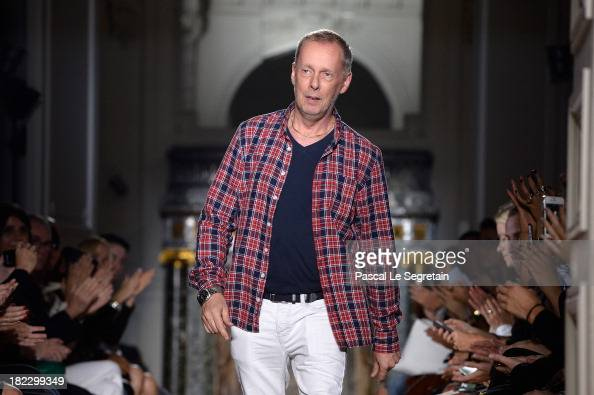 Fashion designer Bill Gaytten walks the runway during John Galliano show as part of the Paris Fashion Week Womenswear Spring/Summer 2014 at Hotel...
