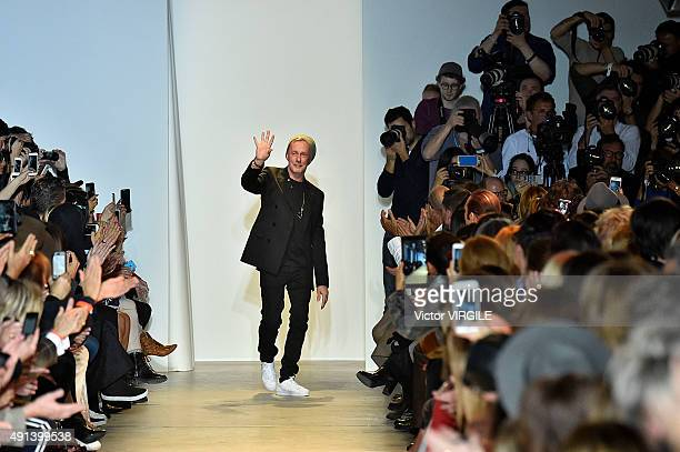 Fashion designer Bill Gaytten walks the runway during the John Galliano Ready to Wear show as part of the Paris Fashion Week Womenswear Spring/Summer...