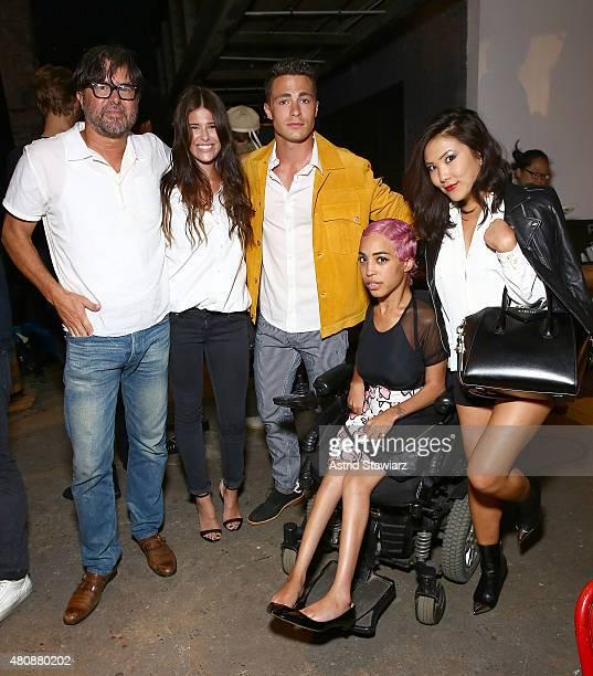 Fashion designer Billy Reid and daughter Mattie Reid pose with actor Colton Haynes model Jillian Mercado and Ally Maki at Billy Reid New York Fashion...