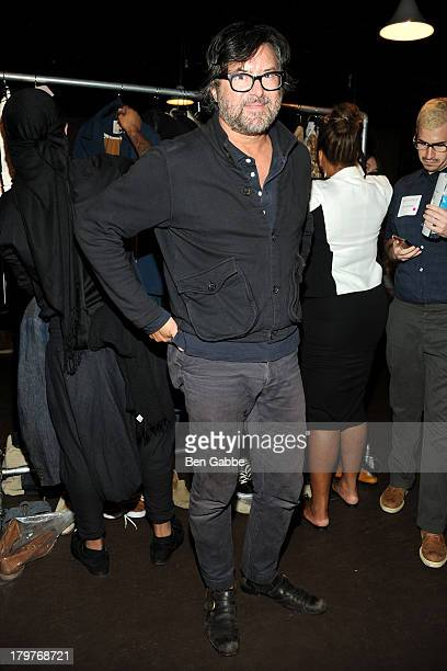 Fashion designer Billy Reid backstage at the Billy Reid fashion show during MercedesBenz Fashion Week Spring 2014 at The McKittrick Hotel on...