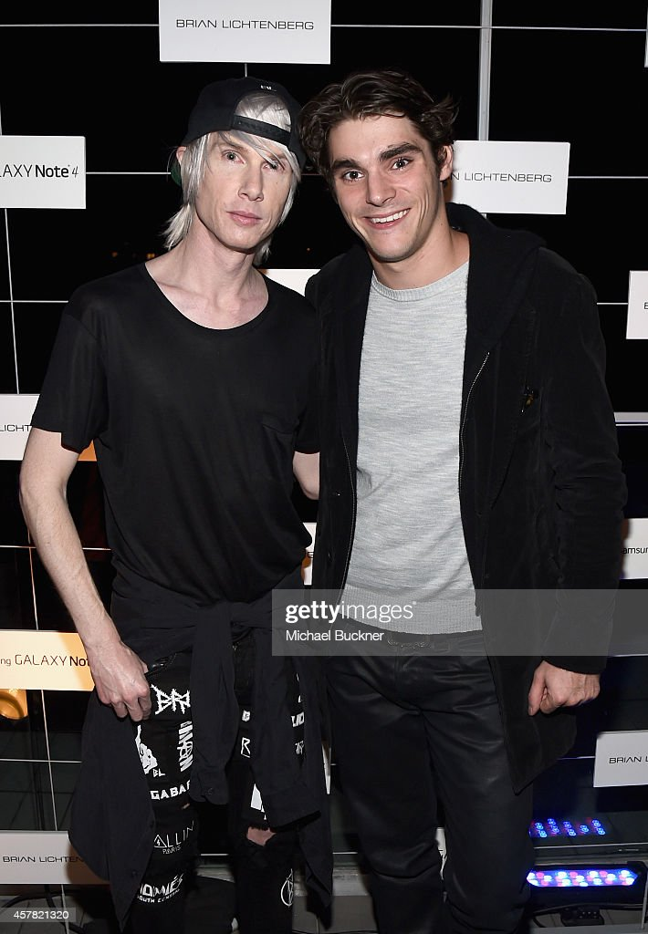 Fashion designer Brian Lichtenberg and actor RJ Mitte attends The Note Pad Powered by the Samsung Galaxy Note 4 on October 24 2014 in Los Angeles...