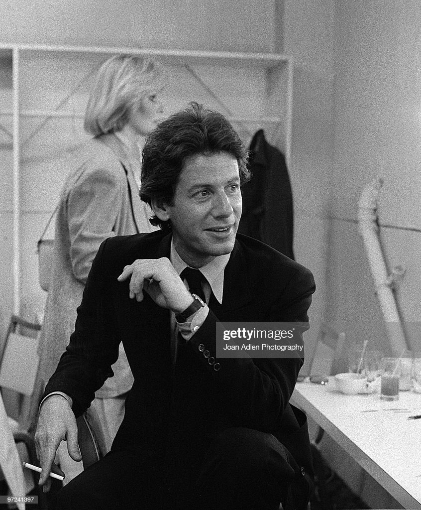 Fashion designer Calvin Klein poses for a portrait backstage before a fashion show for People Magazine in 1979 in Los Angeles California