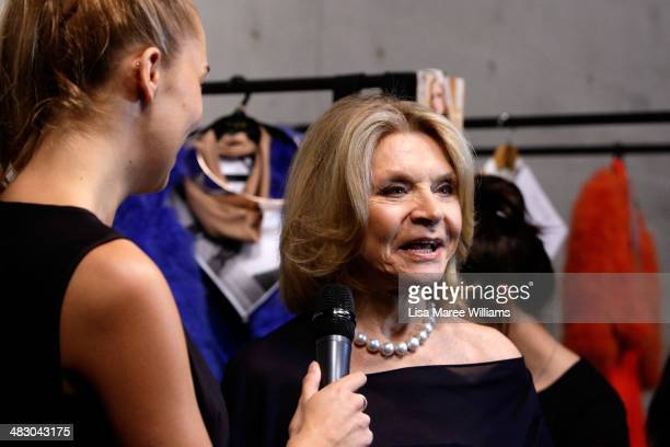 Fashion designer Carla Zampatti is interviewed backstage ahead of the Carla Zampatti show at MercedesBenz Fashion Week Australia 2014 at...
